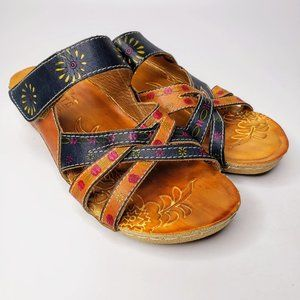L'Artiste Kaxanne Painted Leather Strap Sandals 38